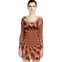 Fractal Red Petal Spiral Long Sleeve Velvet Bodycon Dress