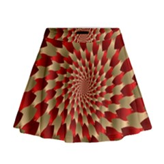 Fractal Red Petal Spiral Mini Flare Skirt