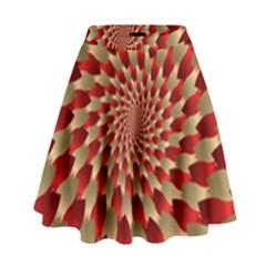 Fractal Red Petal Spiral High Waist Skirt