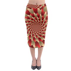 Fractal Red Petal Spiral Midi Pencil Skirt