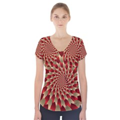 Fractal Red Petal Spiral Short Sleeve Front Detail Top