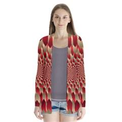 Fractal Red Petal Spiral Cardigans