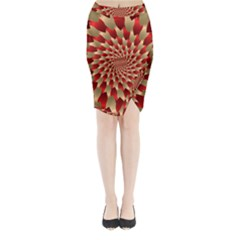 Fractal Red Petal Spiral Midi Wrap Pencil Skirt