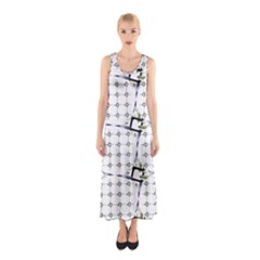 Fractal Design Pattern Sleeveless Maxi Dress