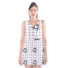Fractal Design Pattern Scoop Neck Skater Dress