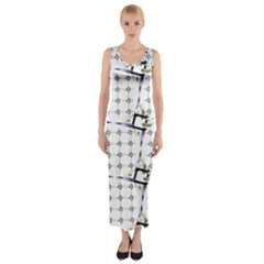 Fractal Design Pattern Fitted Maxi Dress