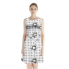 Fractal Design Pattern Sleeveless Chiffon Waist Tie Dress