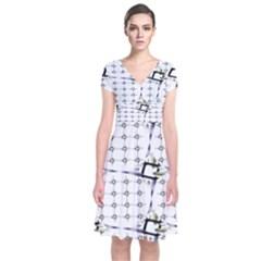 Fractal Design Pattern Short Sleeve Front Wrap Dress