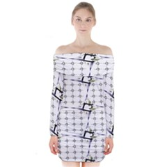 Fractal Design Pattern Long Sleeve Off Shoulder Dress