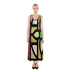 A Detail Of A Stained Glass Window Sleeveless Maxi Dress