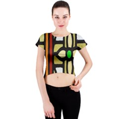 A Detail Of A Stained Glass Window Crew Neck Crop Top