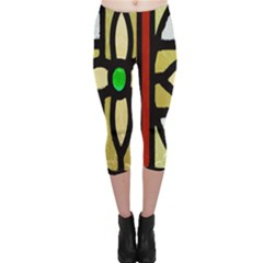 A Detail Of A Stained Glass Window Capri Leggings