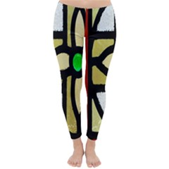 A Detail Of A Stained Glass Window Classic Winter Leggings