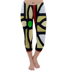 A Detail Of A Stained Glass Window Capri Winter Leggings