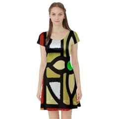 A Detail Of A Stained Glass Window Short Sleeve Skater Dress