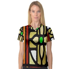 A Detail Of A Stained Glass Window Women s V-Neck Sport Mesh Tee