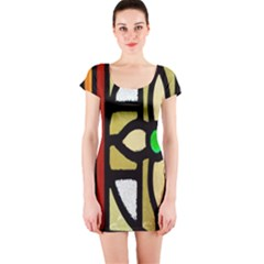 A Detail Of A Stained Glass Window Short Sleeve Bodycon Dress