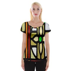 A Detail Of A Stained Glass Window Women s Cap Sleeve Top