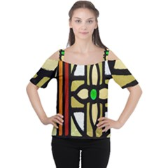 A Detail Of A Stained Glass Window Women s Cutout Shoulder Tee
