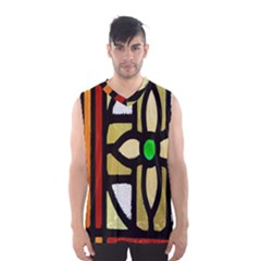 A Detail Of A Stained Glass Window Men s Basketball Tank Top