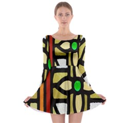 A Detail Of A Stained Glass Window Long Sleeve Skater Dress