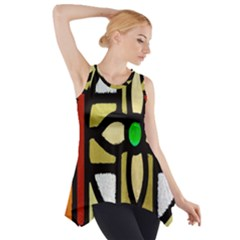 A Detail Of A Stained Glass Window Side Drop Tank Tunic