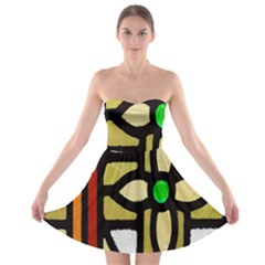 A Detail Of A Stained Glass Window Strapless Bra Top Dress