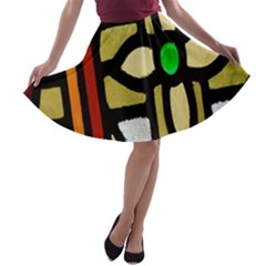 A Detail Of A Stained Glass Window A-line Skater Skirt