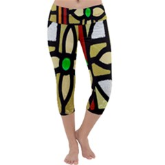 A Detail Of A Stained Glass Window Capri Yoga Leggings