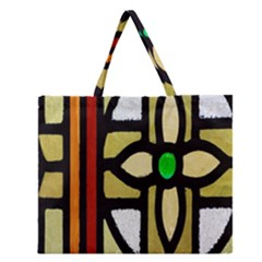 A Detail Of A Stained Glass Window Zipper Large Tote Bag