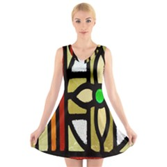 A Detail Of A Stained Glass Window V Neck Sleeveless Skater Dress