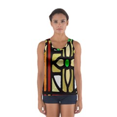 A Detail Of A Stained Glass Window Women s Sport Tank Top