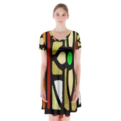 A Detail Of A Stained Glass Window Short Sleeve V-neck Flare Dress
