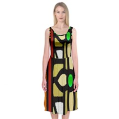A Detail Of A Stained Glass Window Midi Sleeveless Dress
