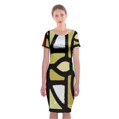A Detail Of A Stained Glass Window Classic Short Sleeve Midi Dress