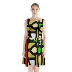 A Detail Of A Stained Glass Window Sleeveless Chiffon Waist Tie Dress