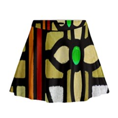 A Detail Of A Stained Glass Window Mini Flare Skirt