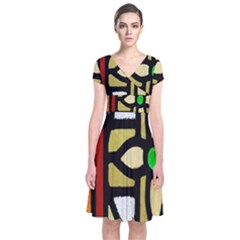 A Detail Of A Stained Glass Window Short Sleeve Front Wrap Dress