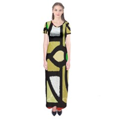 A Detail Of A Stained Glass Window Short Sleeve Maxi Dress