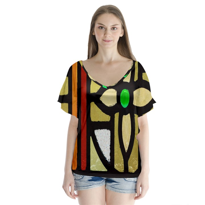 A Detail Of A Stained Glass Window Flutter Sleeve Top