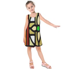 A Detail Of A Stained Glass Window Kids  Sleeveless Dress