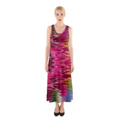 Abstract Pink Colorful Water Background Sleeveless Maxi Dress