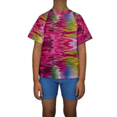 Abstract Pink Colorful Water Background Kids  Short Sleeve Swimwear