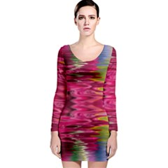 Abstract Pink Colorful Water Background Long Sleeve Bodycon Dress