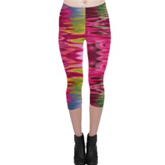 Abstract Pink Colorful Water Background Capri Leggings