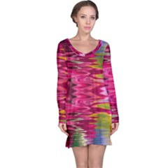 Abstract Pink Colorful Water Background Long Sleeve Nightdress