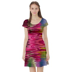 Abstract Pink Colorful Water Background Short Sleeve Skater Dress