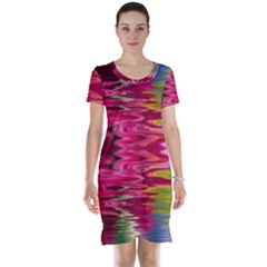 Abstract Pink Colorful Water Background Short Sleeve Nightdress