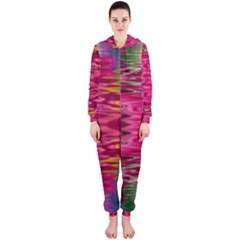 Abstract Pink Colorful Water Background Hooded Jumpsuit (Ladies)