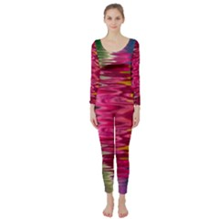 Abstract Pink Colorful Water Background Long Sleeve Catsuit